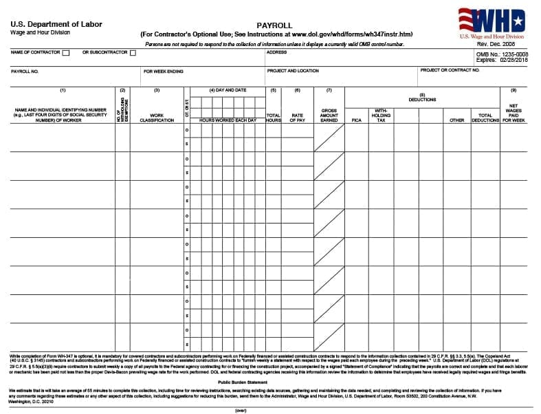 certified payroll form - Certified Payroll Form